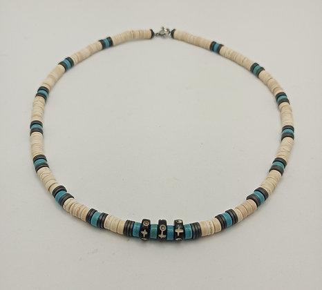 Collier homme turquoise blanc/turquoise/hématite/os de yac
