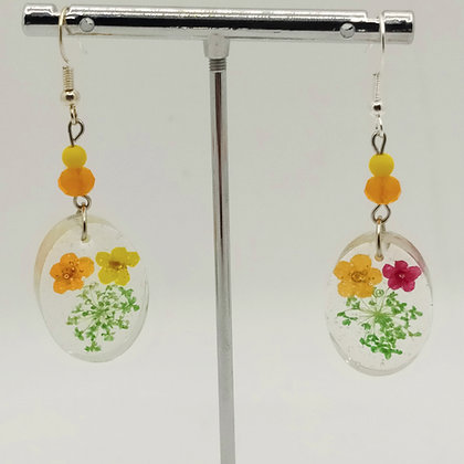 B.O. résine fleurs jaune/orange, ovales #3