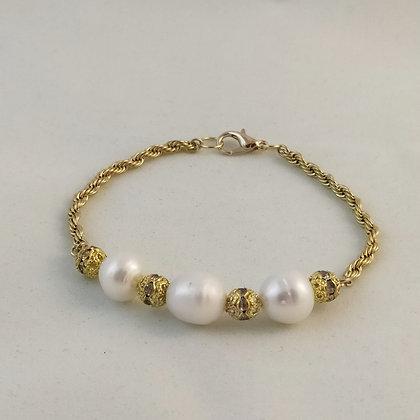 Bracelet perles de culture d'au douce/doré