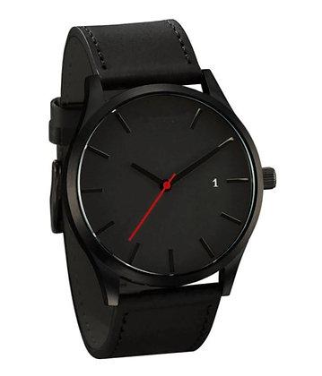 Montre-bracelet en cuir, noir, pour hommes