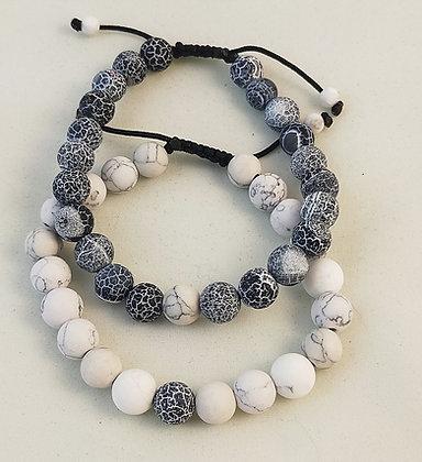 Bracelet couple agate noire givrée/howlite