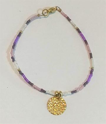 Bracelet doré/violet/blanc