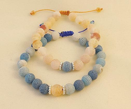 Bracelet couple agate bleu et orange givrée