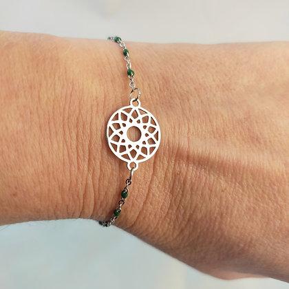 Bracelet mandala vert/argenté