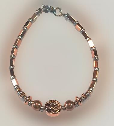 Bracelet hématite doré rose, argent, arbre de vie