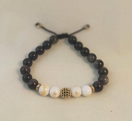 Bracelet ajustable obsidienne / jade blanc / perle doré-noir