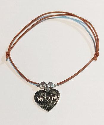 Bracelet élastique argenté/marron/MOM