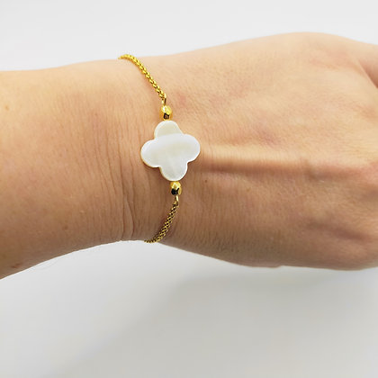 Bracelet trèfle nacre blanc/doré
