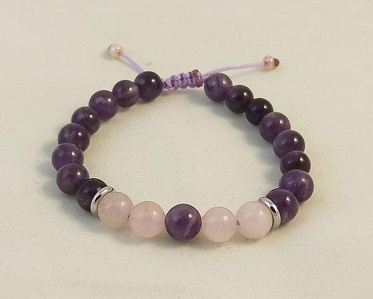 Bracelet ajustable améthyste / quartz rose