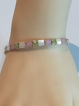 Bracelet duo doré/blanc/vert/rose