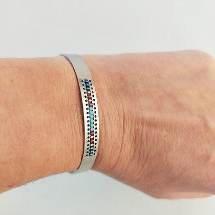 Bracelet ajustable acier inox/perles miyuki 2