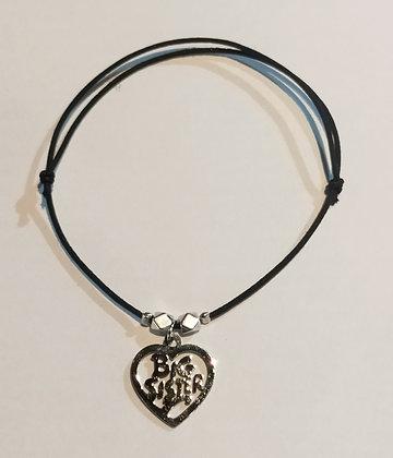 Bracelet élastique argenté/noir/big sister