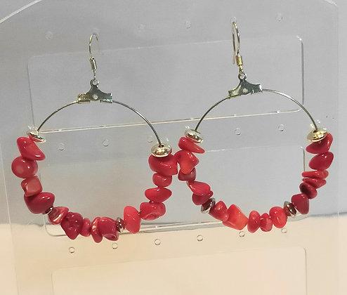 Boucles d'oreilles corail rouge