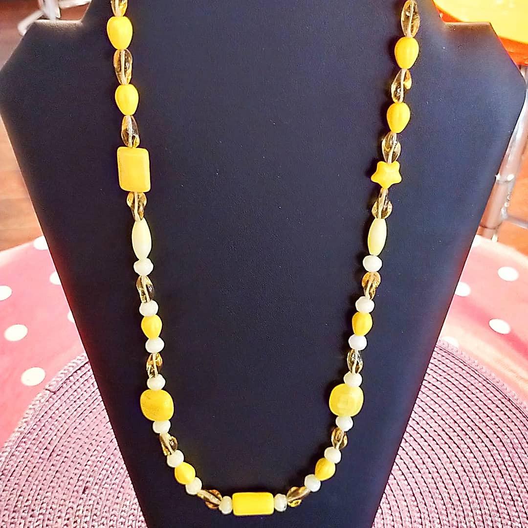 Collier grosses perles jaune