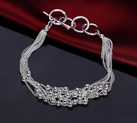 Bracelet chaînes à boules en argent