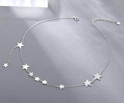 Chaîne en argent étoiles avec chaîne de clavicule