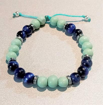 Perles en bois turquoise + œil de tigre bleu + métal argenté, ajustable