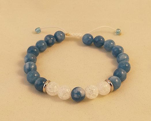 Bracelet ajustable calcédoine bleu / cristal de roche craquelé