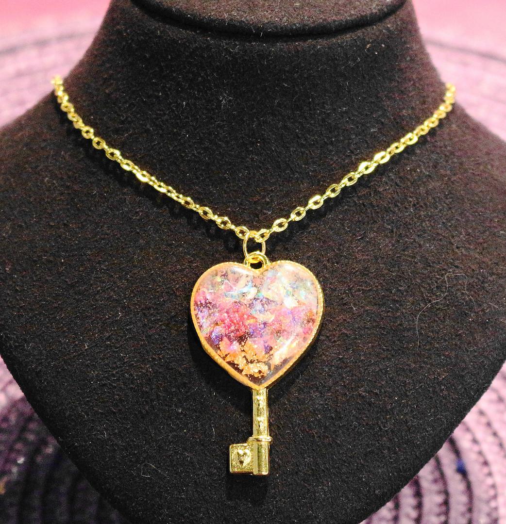 Clé coeur rose&or