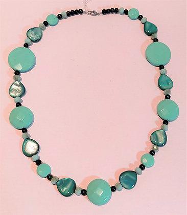 Collier bleu/turquoise