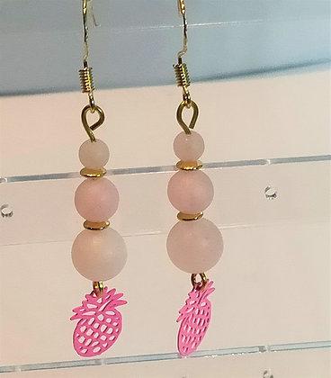 Boucles d'oreilles doré/jade rose