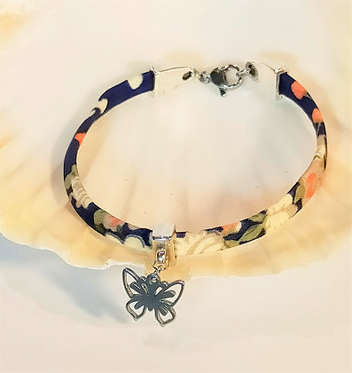 Bracelet liberty argenté/papillon