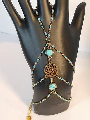 Bracelet-bague doré/bleu turquoise