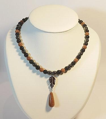 Collier en Obsidienne/hématite/pierre de sable