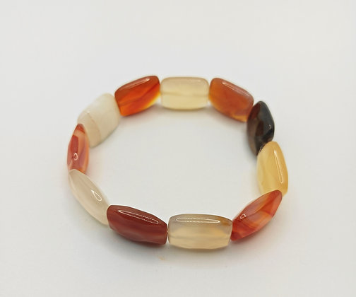 Bracelet pierres rectangulaire agate orange