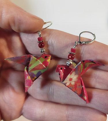 B.O. origami oiseaux 2 rouge/argenté