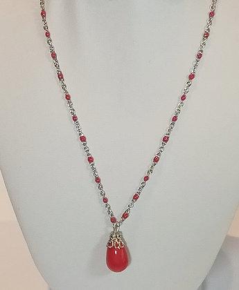 Chaîne argent/rouge perle rouge