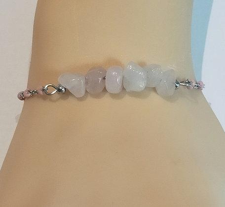 Bracelet argent/rose quartz rose