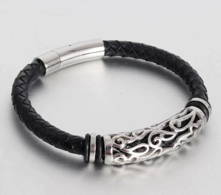 Bracelets en cuir véritable noir 14