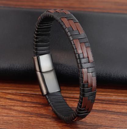 Bracelet tendance en cuir véritable pour hommes noir/marron 20