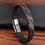 Thumbnail: Bracelet tendance en cuir véritable pour hommes noir/marron 20