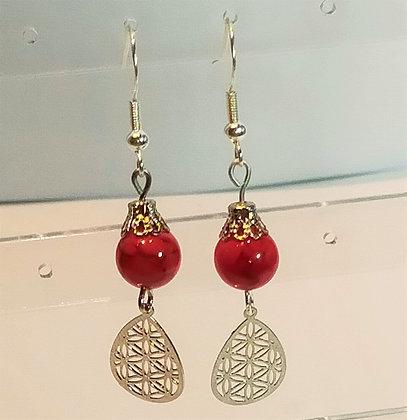 Boucles d'oreilles argenté/jade rouge