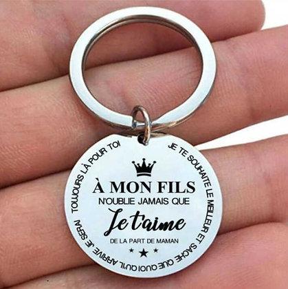 "Porte-clés ""A mon fils"" de la part de maman"