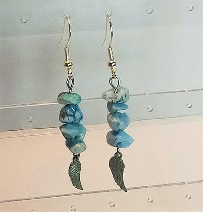 Boucles d'oreilles argenté/turquoise bleu