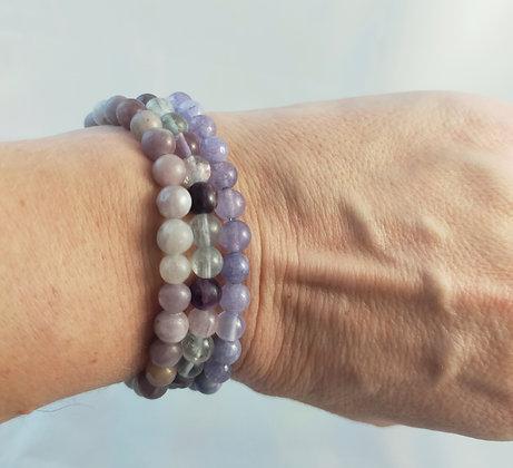 Bracelet triple angélite/fluorite/jaspe lilas