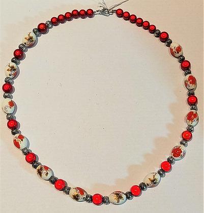 Collier rouge/argent/céramique