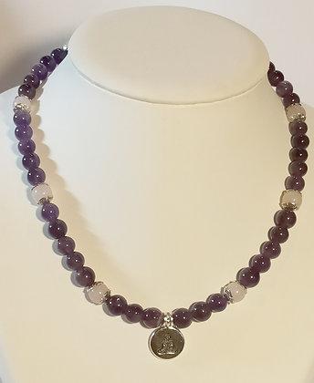 Collier en améthyste et quartz rose bouddha