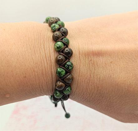 Bracelet double rang en perles de Jade verte et Bronzite