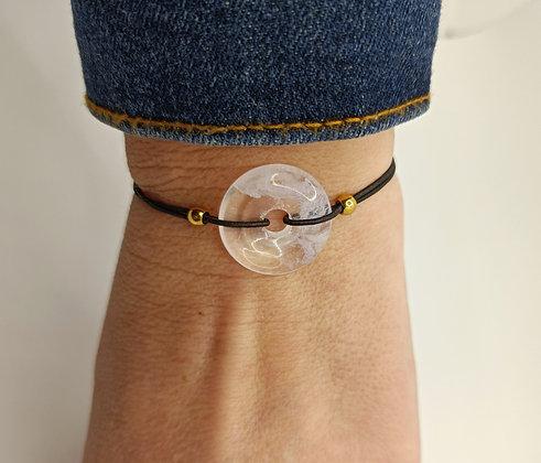Bracelet élastique donuts opale blanc/doré