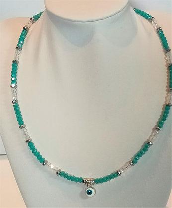 Tour de cou perles turquoise/blanc facettes œil