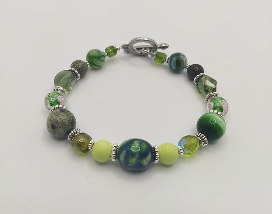 Bracelet grosses perles divers vert/argenté