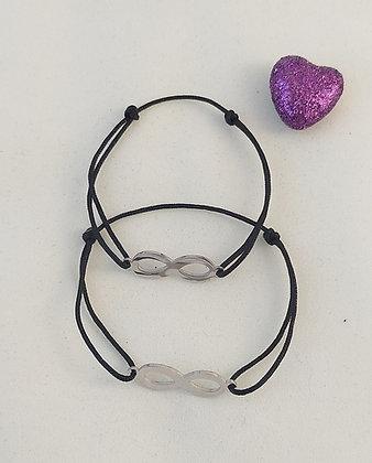 Bracelet couple/amitié noir infini