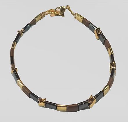 Bracelet hématite marron, doré, gris anthracite