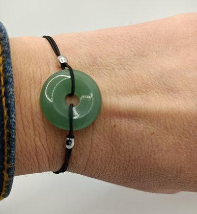 Bracelet élastique donuts aventurine/argenté