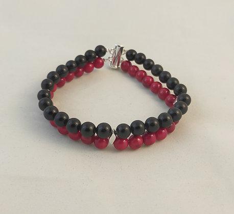 Bracelet double Jade rouge/Obsidienne