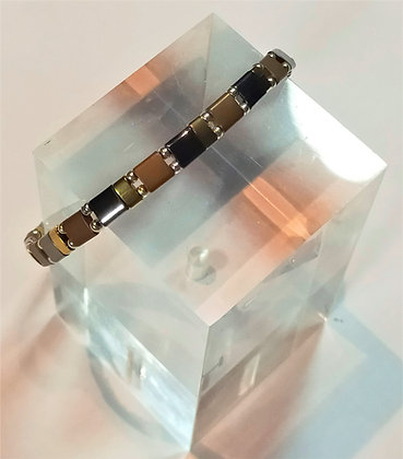 Bracelet hématite marron, anthracite, doré